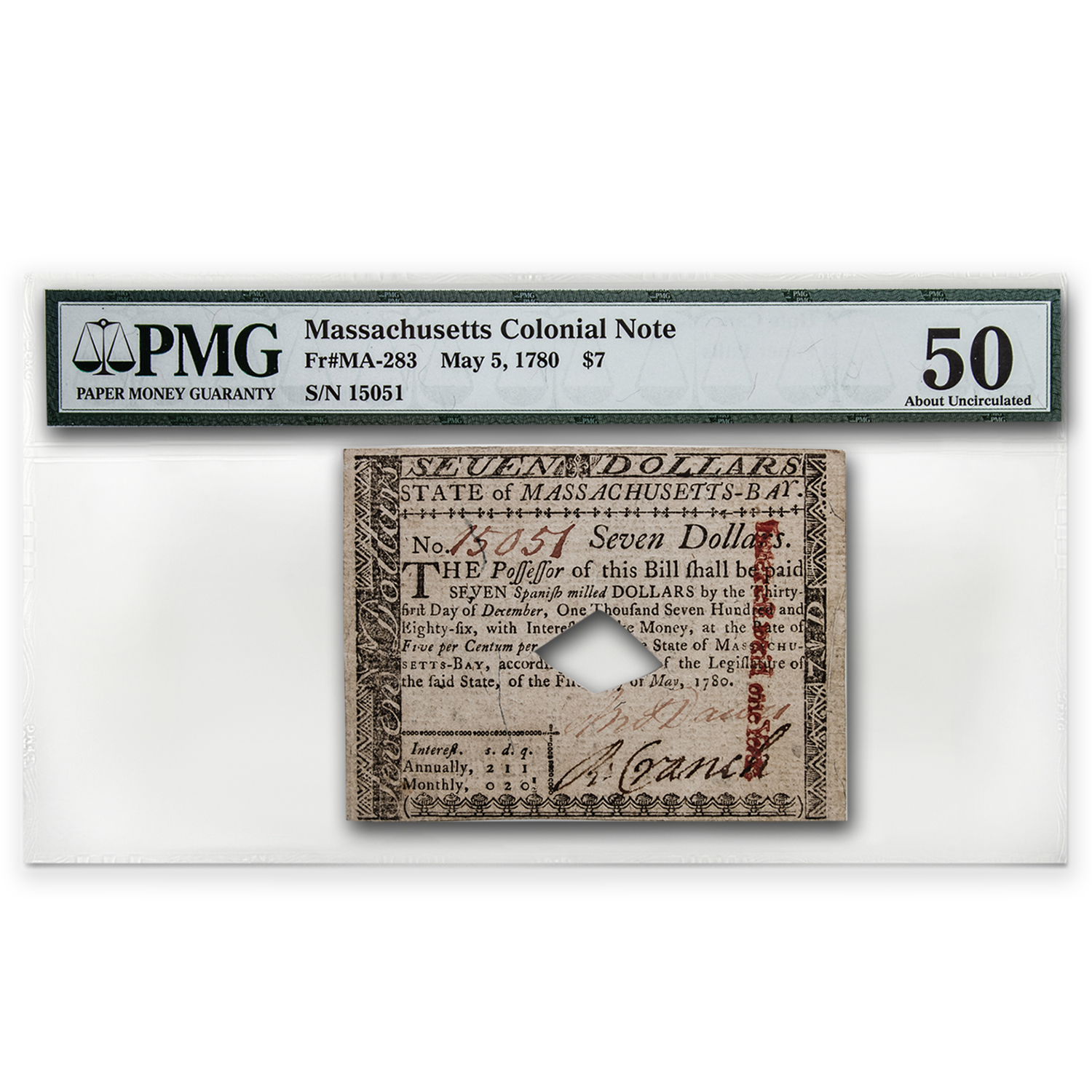 1780 $7 Massachusetts Currency 5/5/1780 AU-50 PMG (Cancelled)