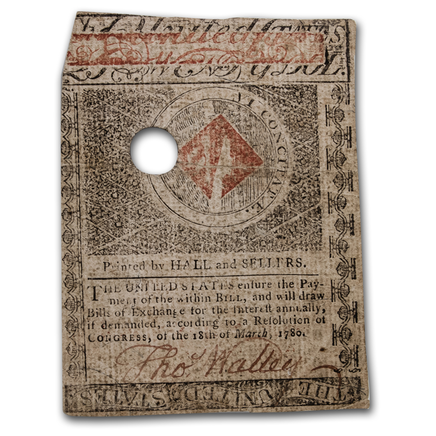 1780 $20 Massachusetts Currency 5/5/1780 XF-40 PMG (Cancelled)