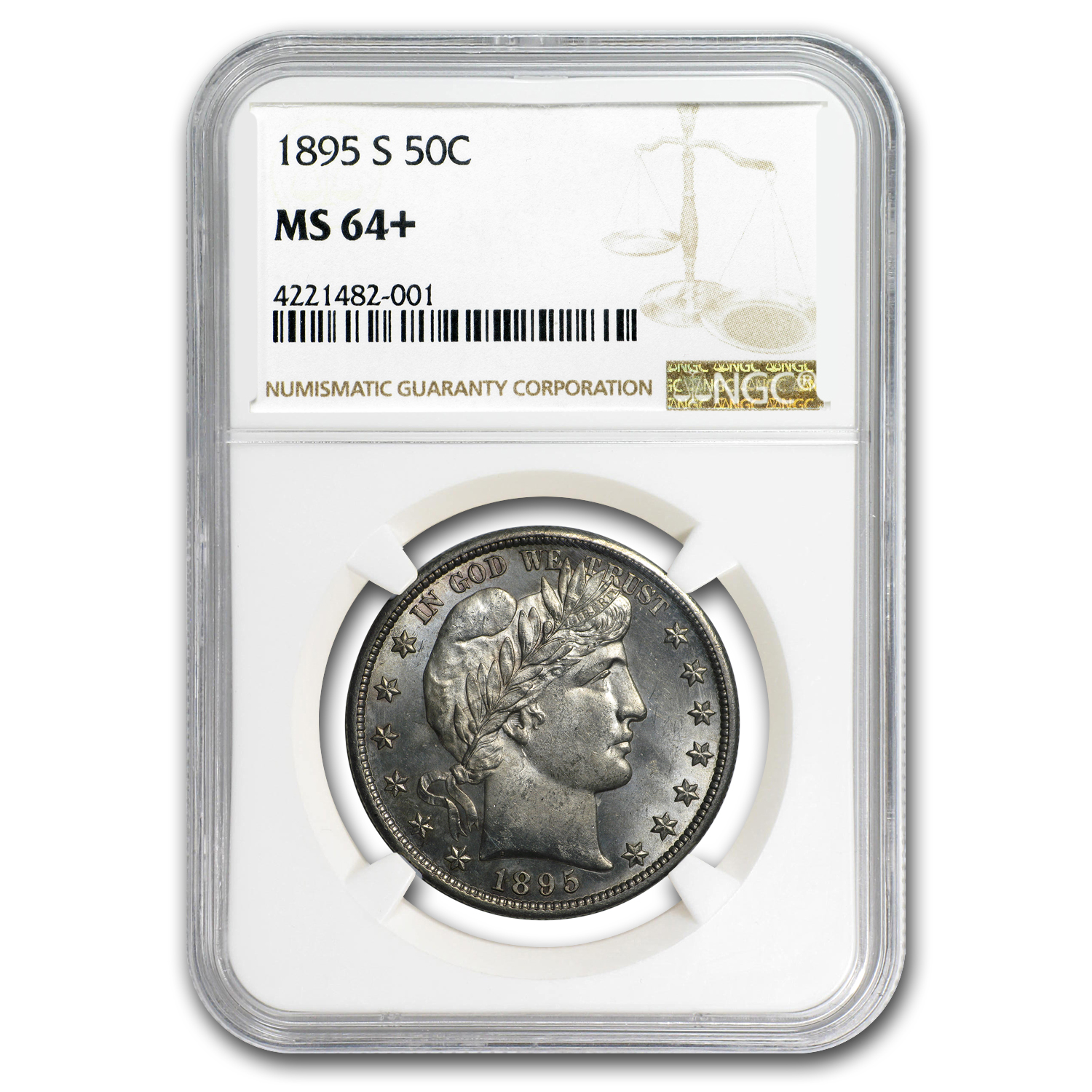 1895-S Barber Half Dollar MS-64+ NGC
