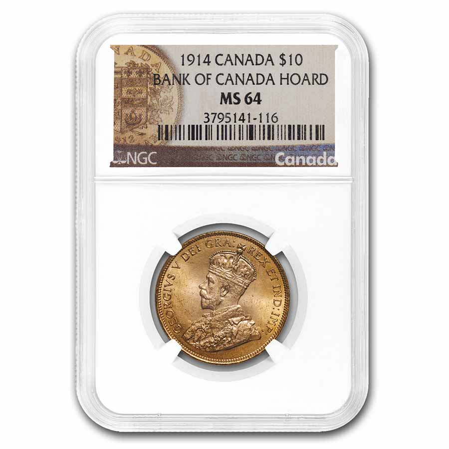 1914 Canada Gold $10 Reserve MS-64 NGC