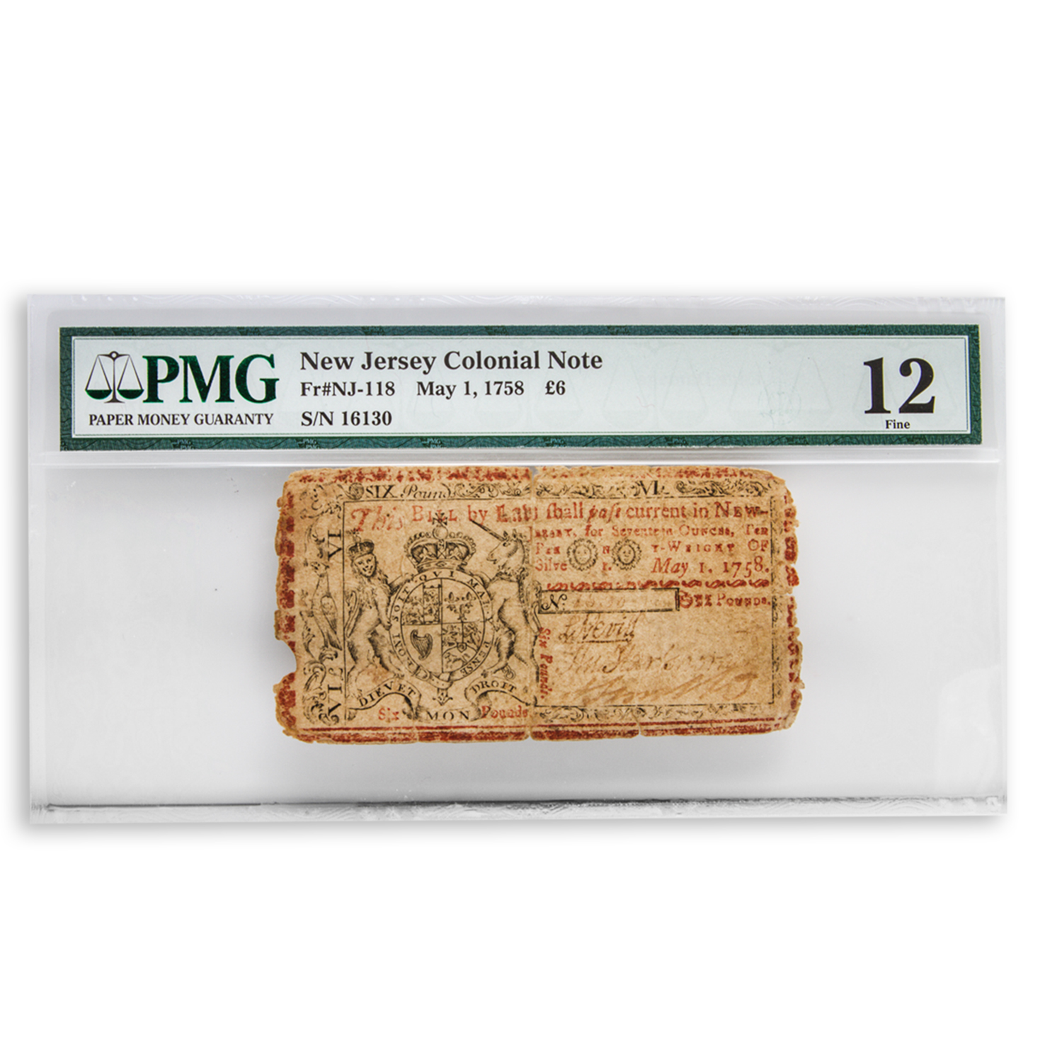 1758 Six Pounds New Jersey Colonial Currency Fine-12 PMG