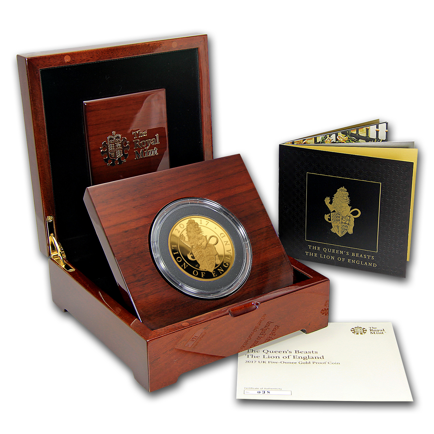 2017 Great Britain Proof 5 oz Gold Queen's Beast Lion (Box & COA)