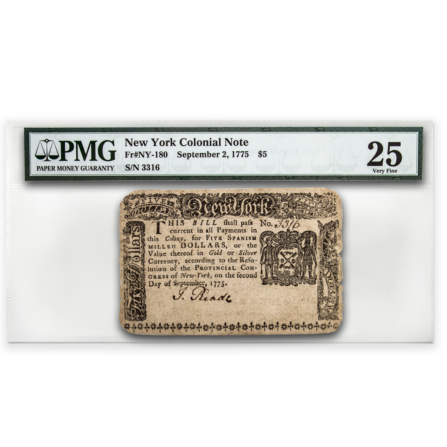 1775 Five Dollars New York Currency 9/2/75 Very Fine-25 PMG