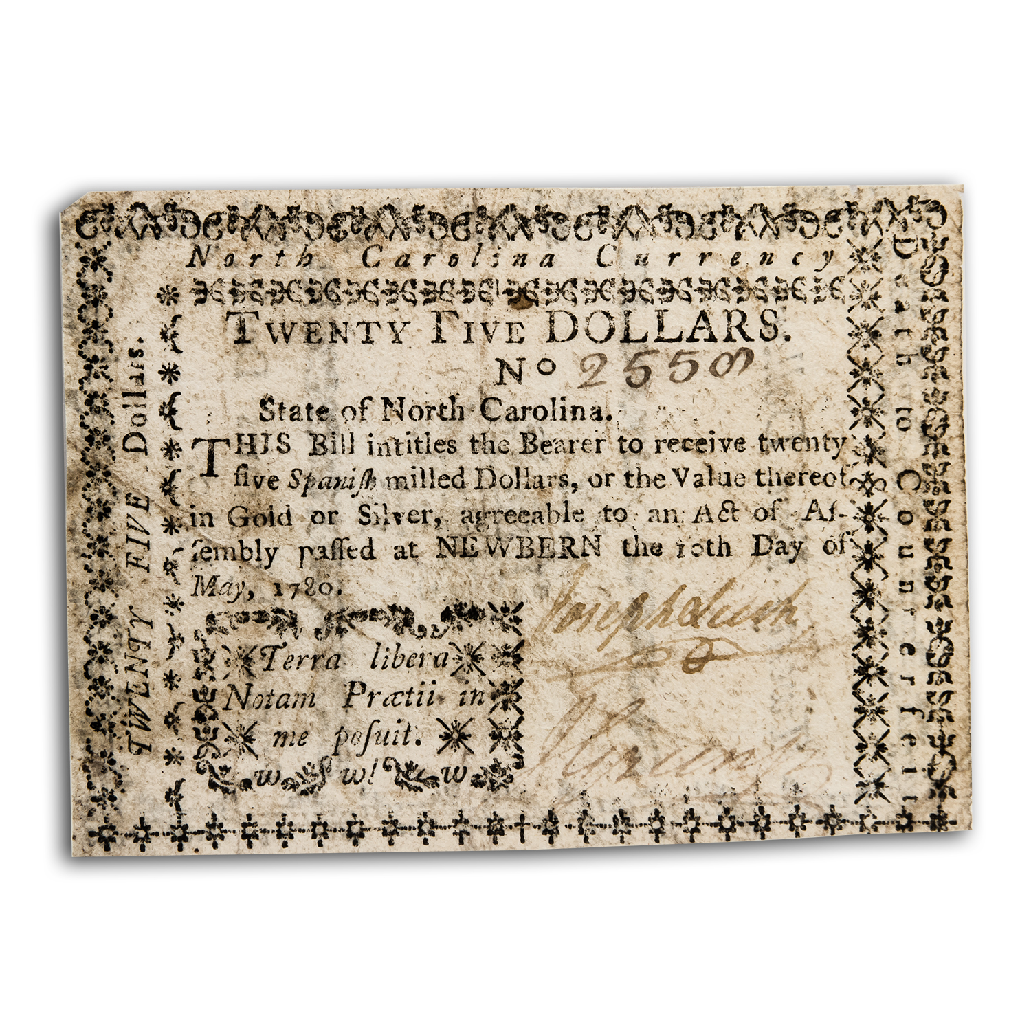 1780 North Carolina Colonial Currency $25 Choice VF-35 PMG