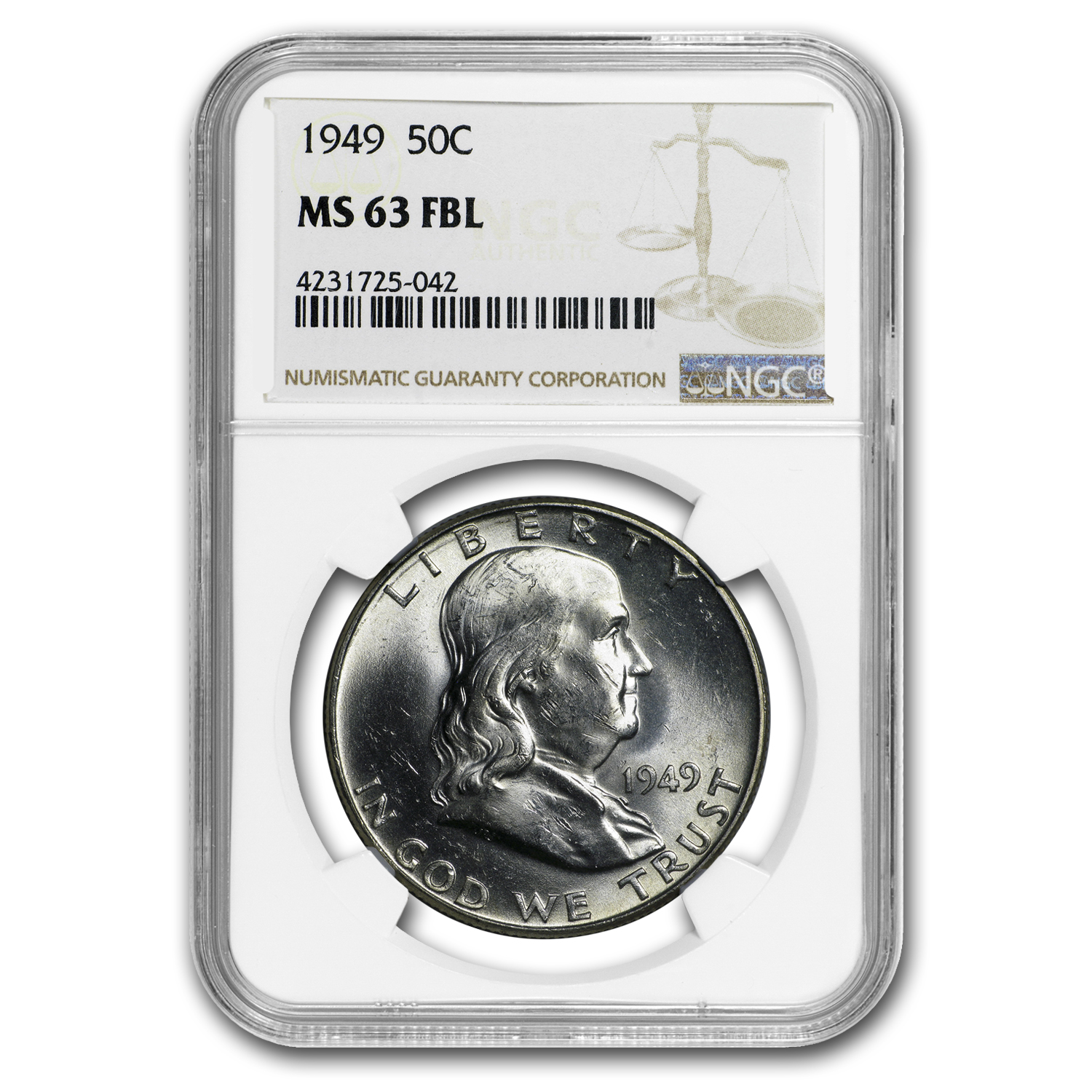 1949 Franklin Half Dollar MS-63 NGC (FBL)