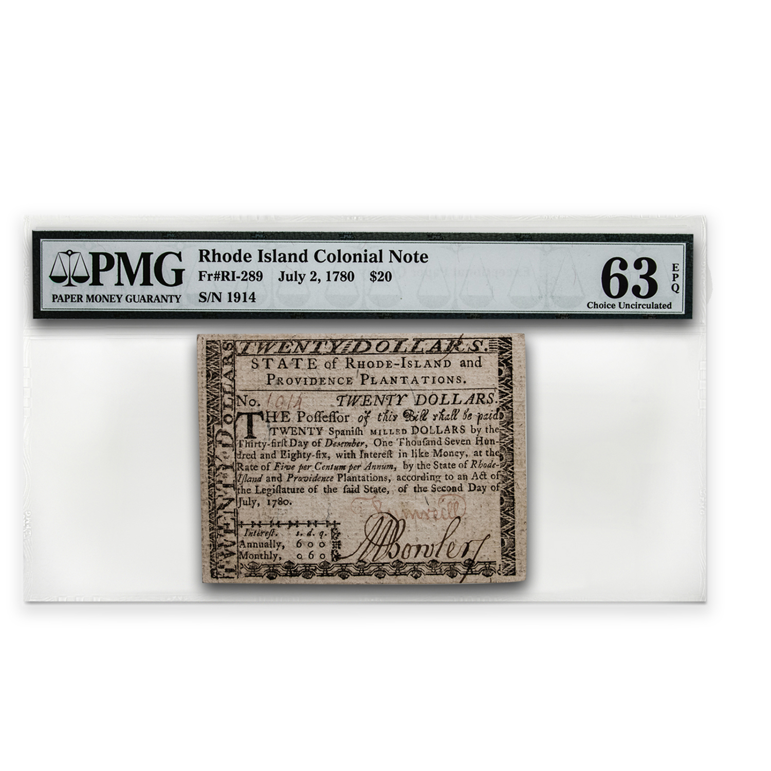 1780 $20 Rhode Island Currency 7/2/1780 Choice Unc-63 EPQ PMG