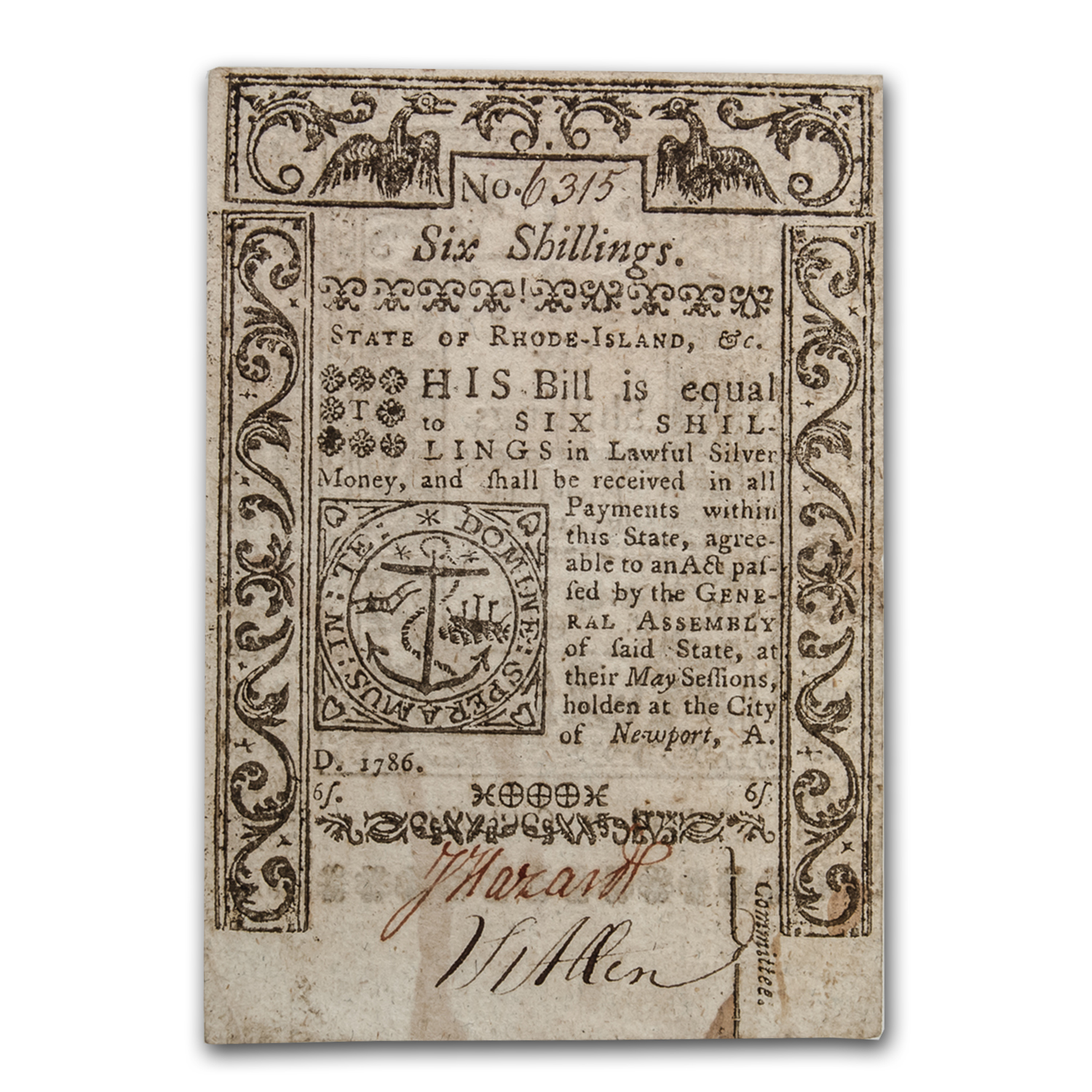 1786 6 Shillings Rhode Island Currency May 1786 XF-45 PMG