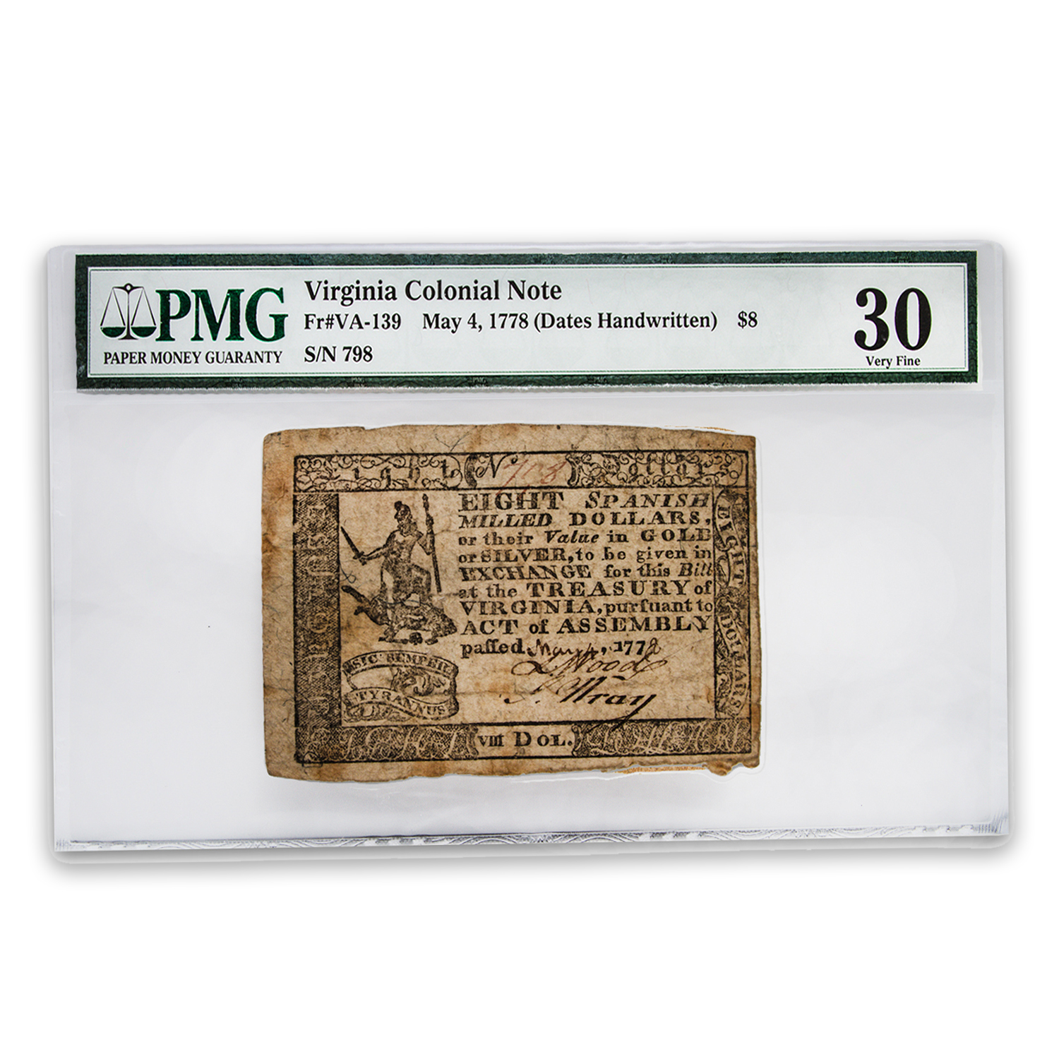 1778 $8 Virginia Currency 5/4/1778 VF-30 by PMG