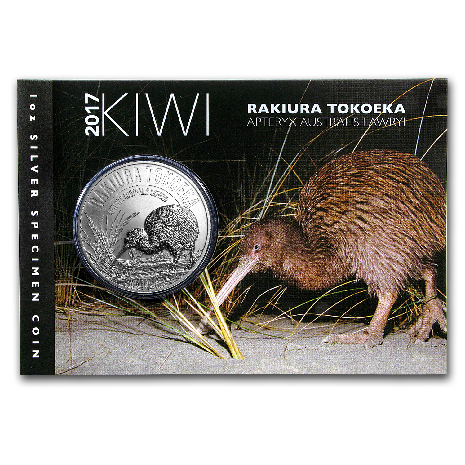 2017 New Zealand 1 oz Silver Kiwi Specimen (Display Card)