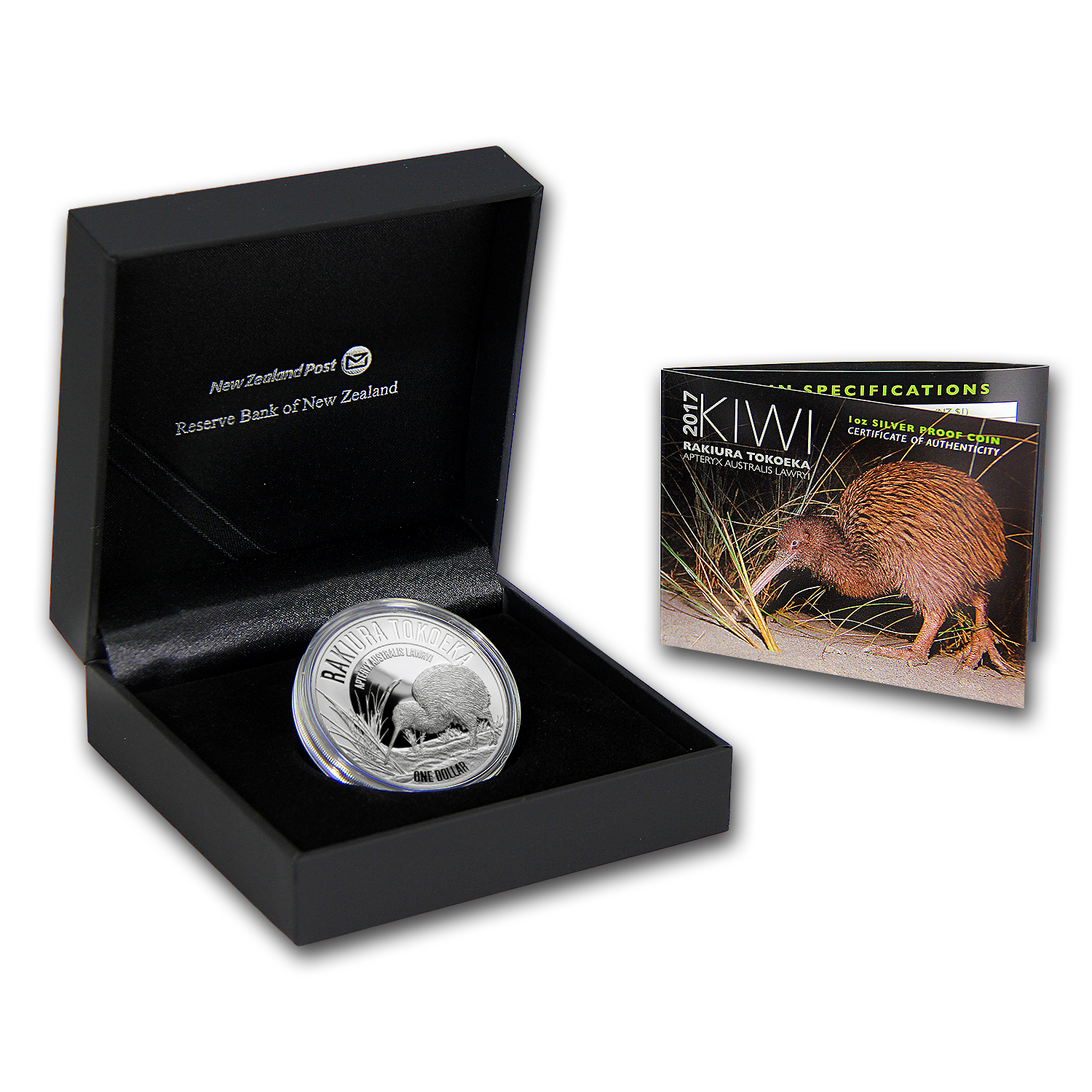 2017 New Zealand 1 oz Silver Kiwi Proof (w/Box & COA)