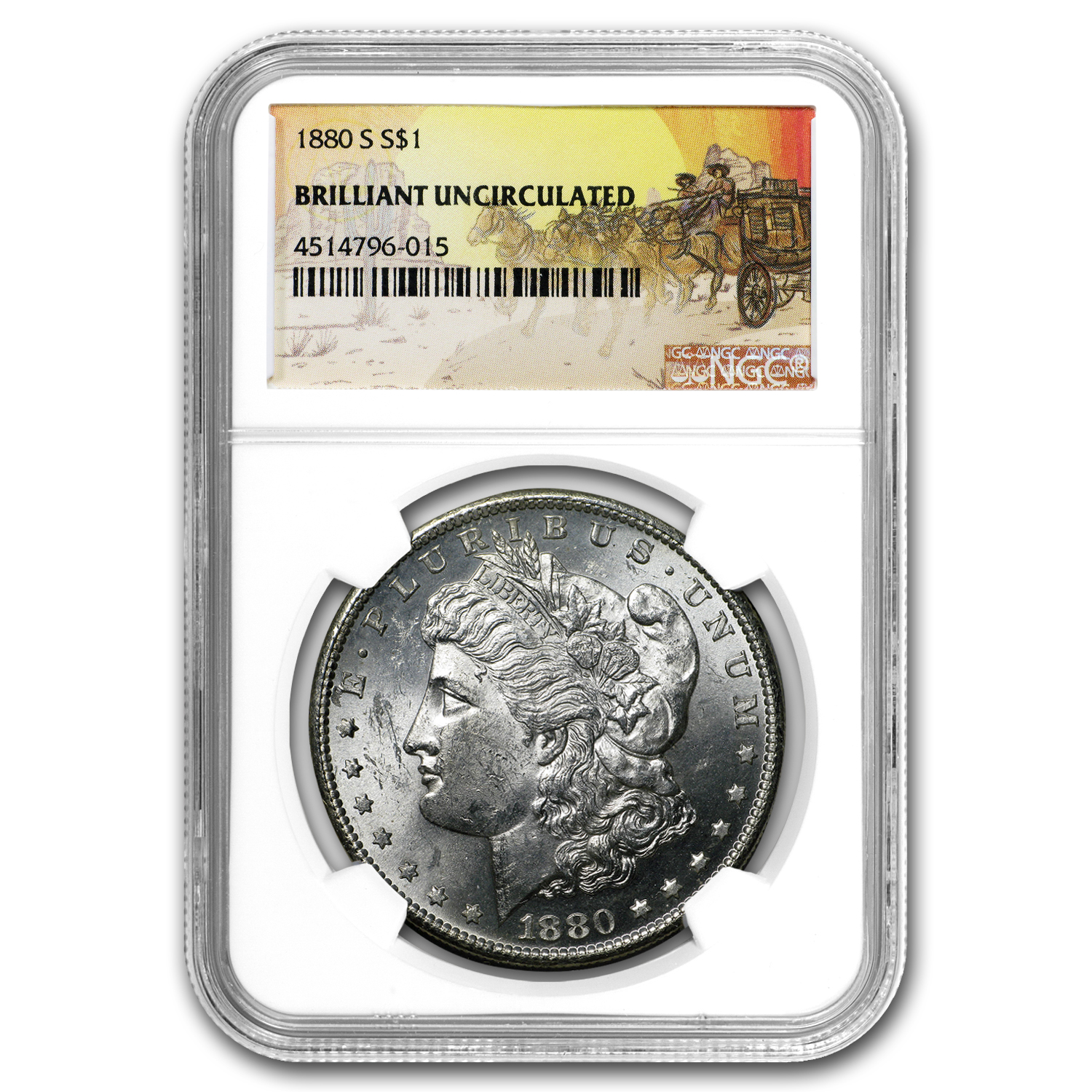 1880-S Stage Coach Silver Dollar BU NGC