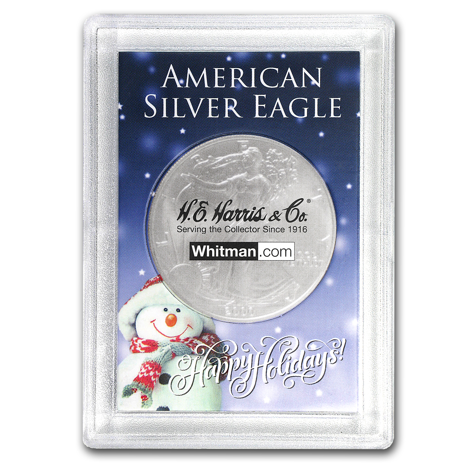 Harris Holder #1673 - Happy Holidays Snowman (Silver Eagle)