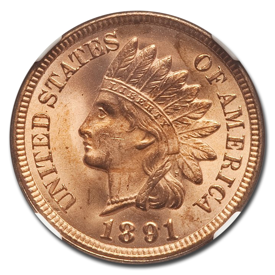 1891 Indian Head Cent MS-65 NGC (Red)