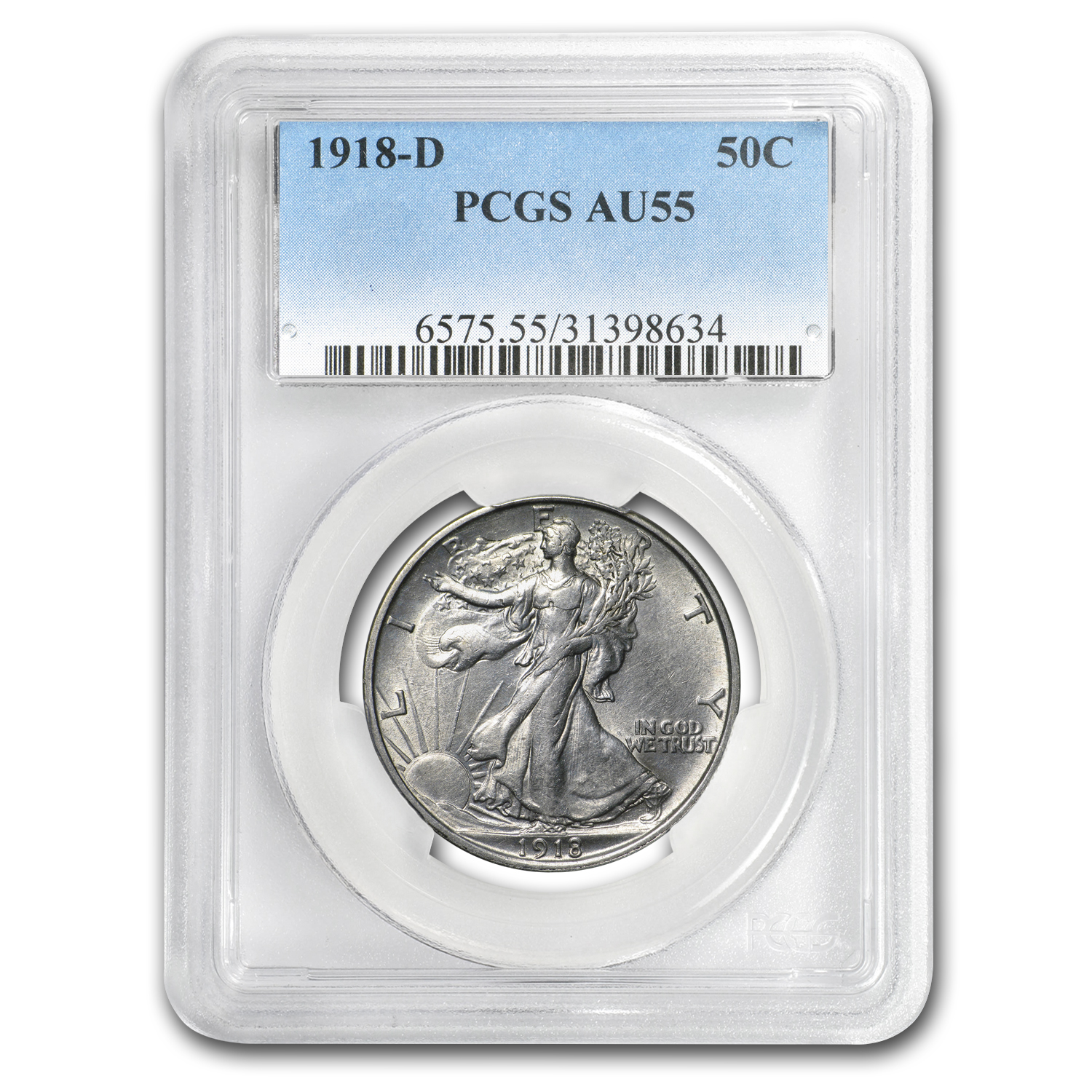 1918-D Walking Liberty Half-Dollar AU-55 PCGS