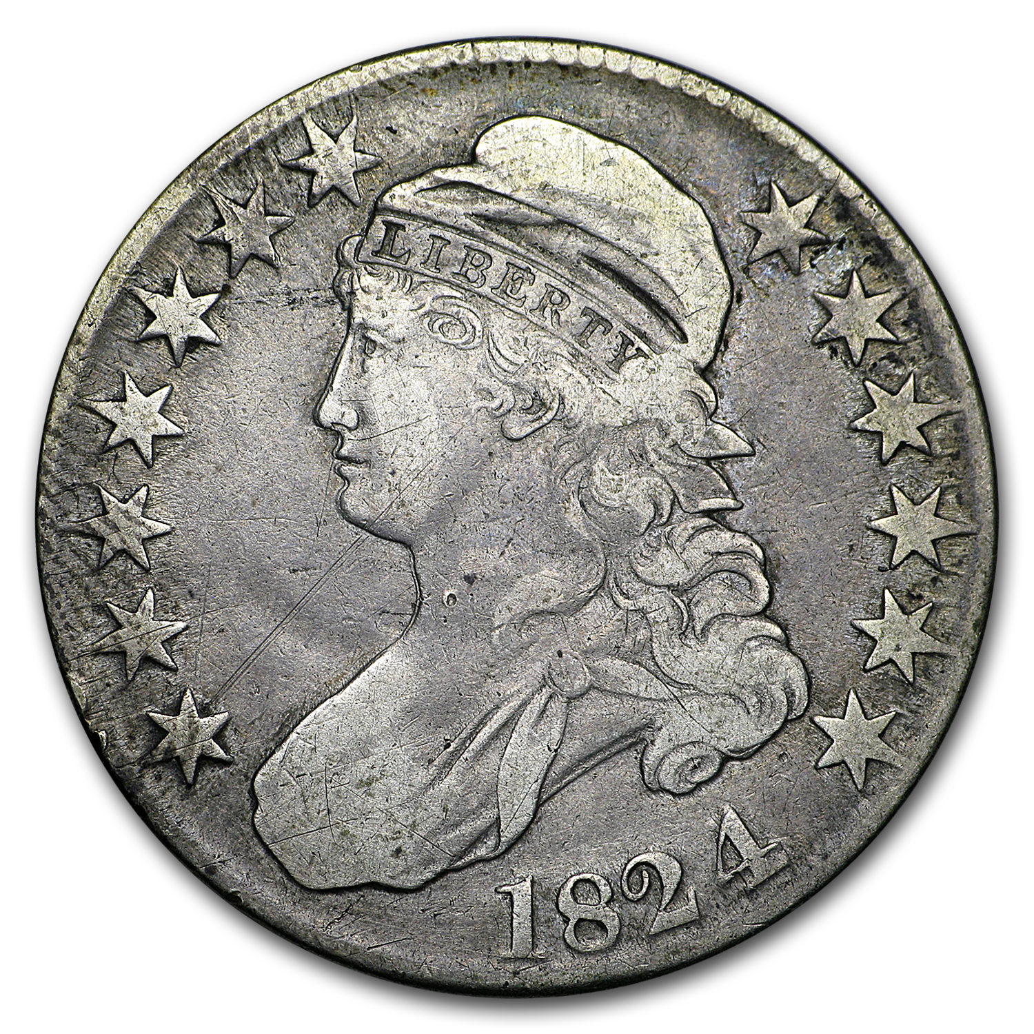 1824/4 Capped Bust Half Dollar VF (Bent)