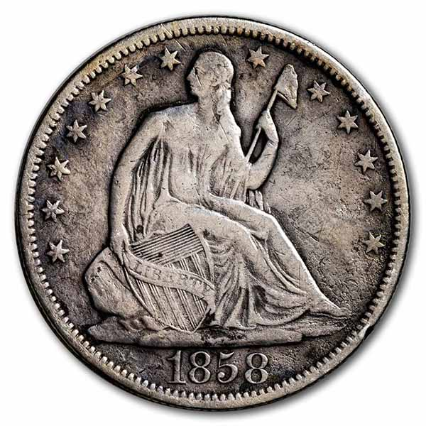 1858 Liberty Seated Half Dollar VF