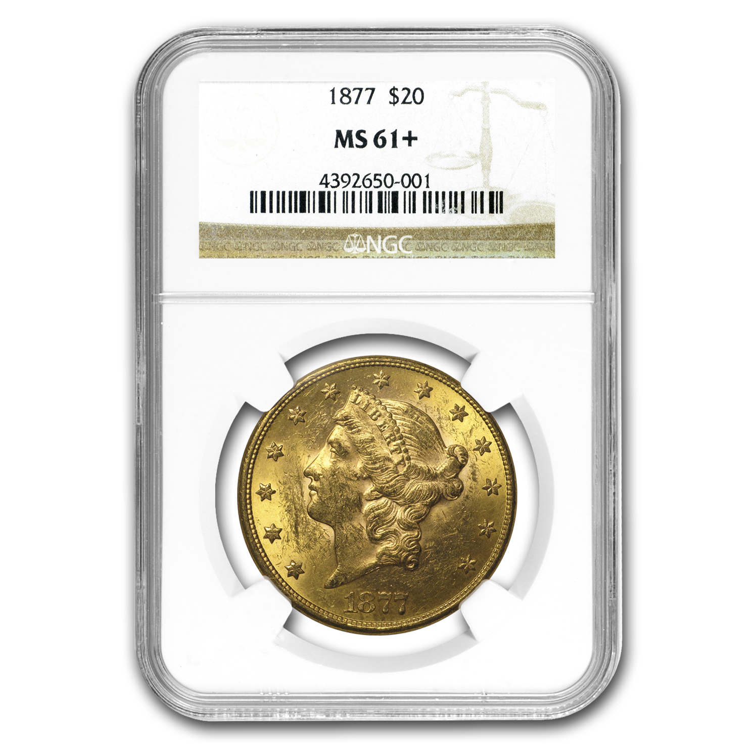1877 $20 Liberty Gold Double Eagle MS-61+ NGC