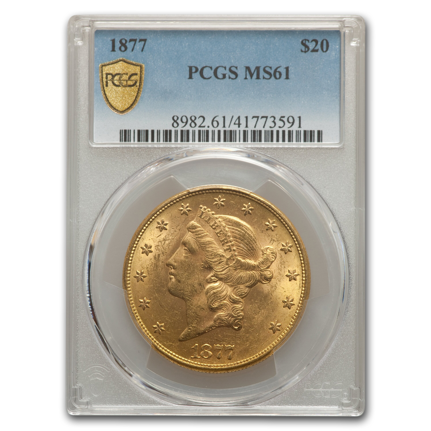 1877 $20 Liberty Gold Double Eagle MS-61 PCGS