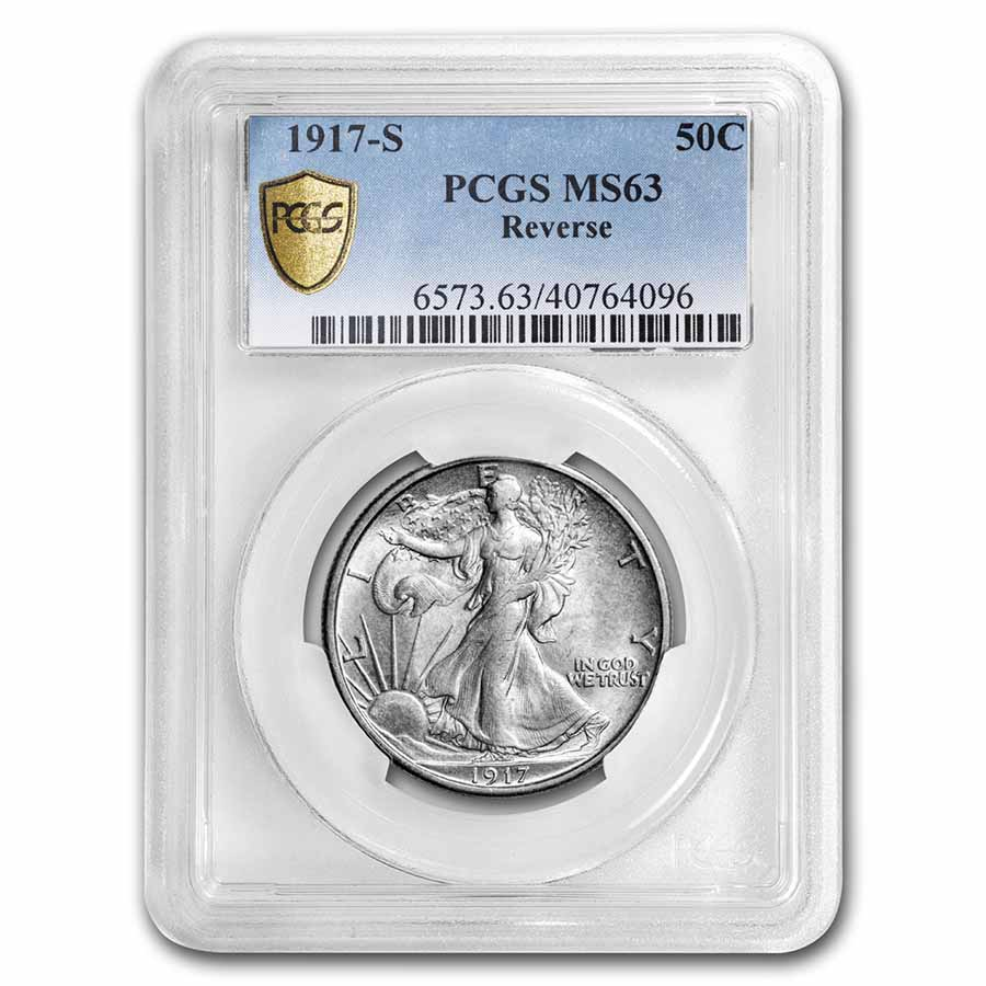 1917-S Reverse Walking Liberty Half Dollar MS-63 PCGS