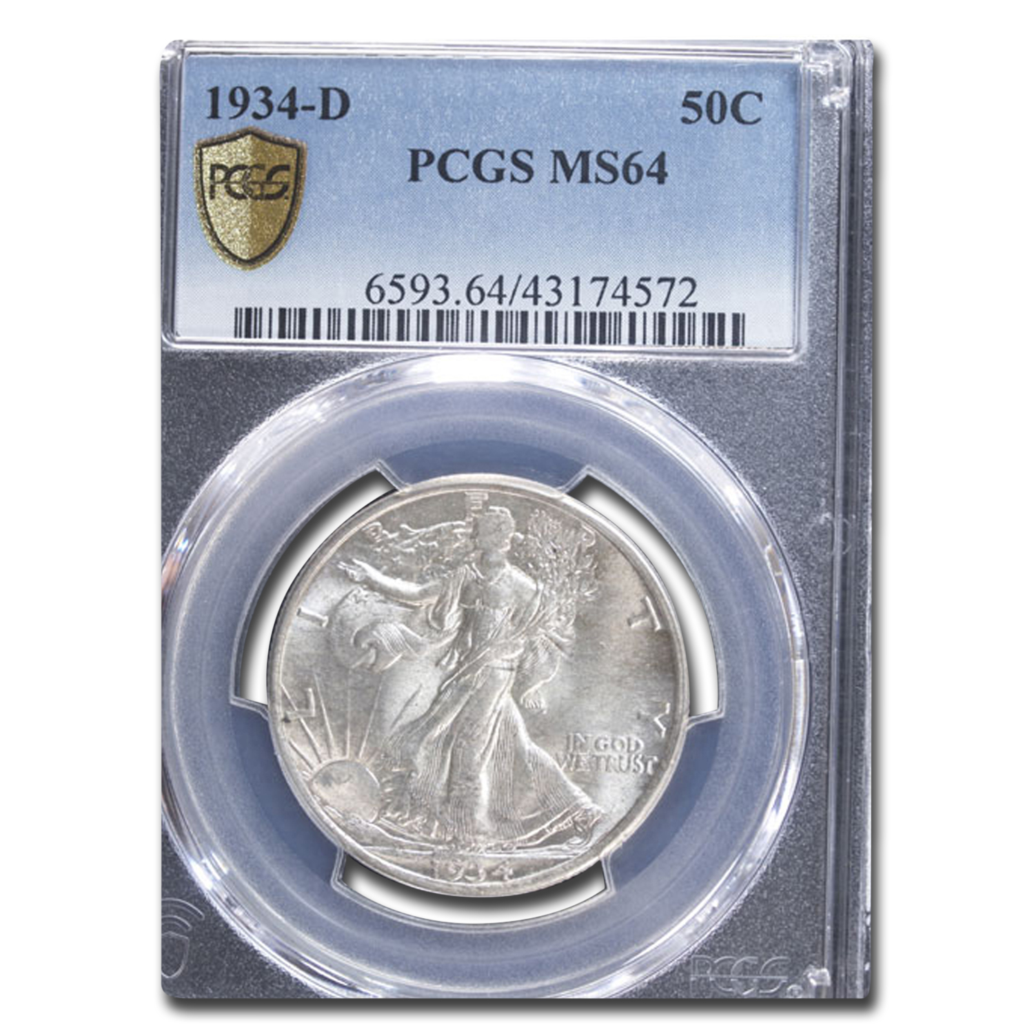 1934-D Walking Liberty Half Dollar MS-64 PCGS