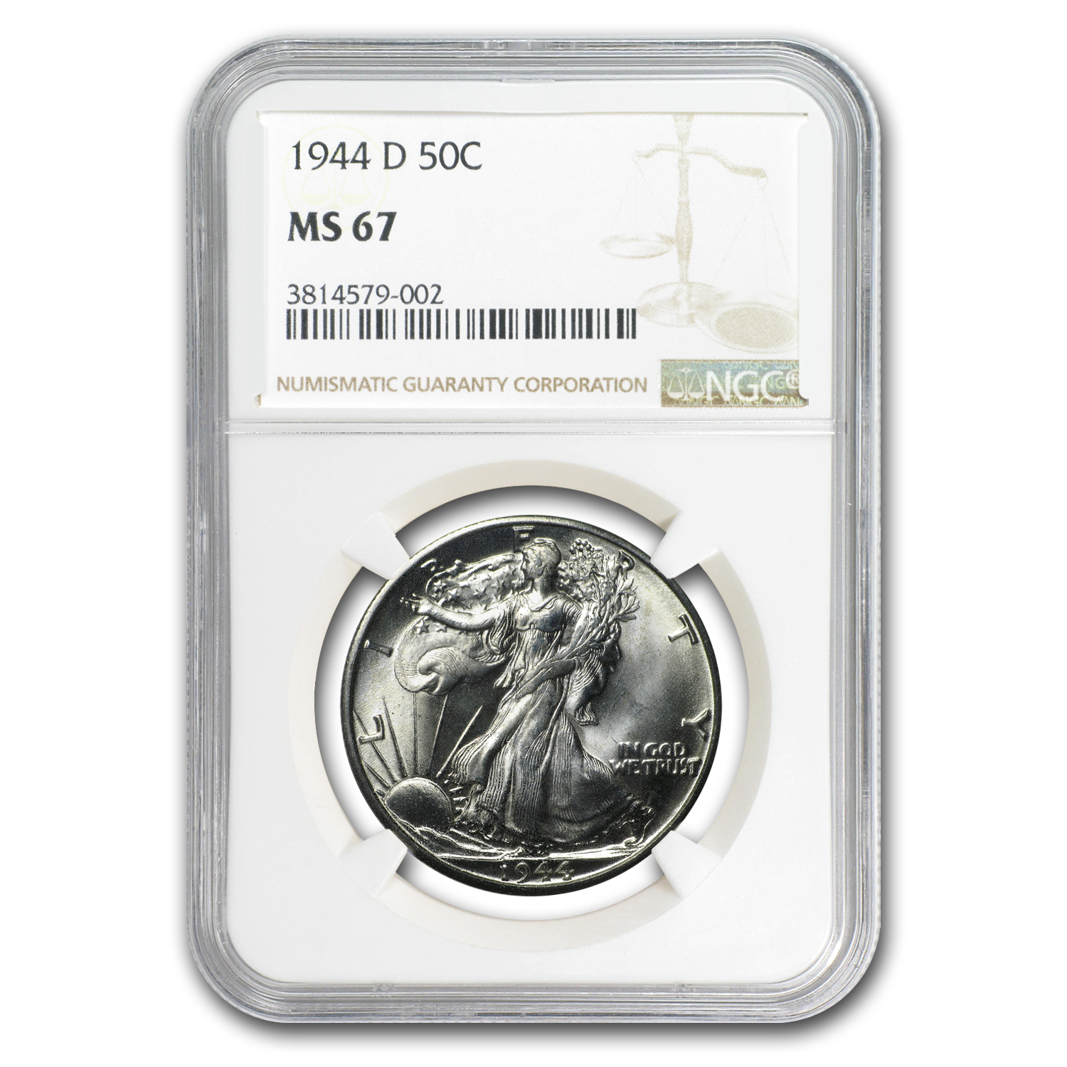 1944-D Walking Liberty Half Dollar MS-67 NGC