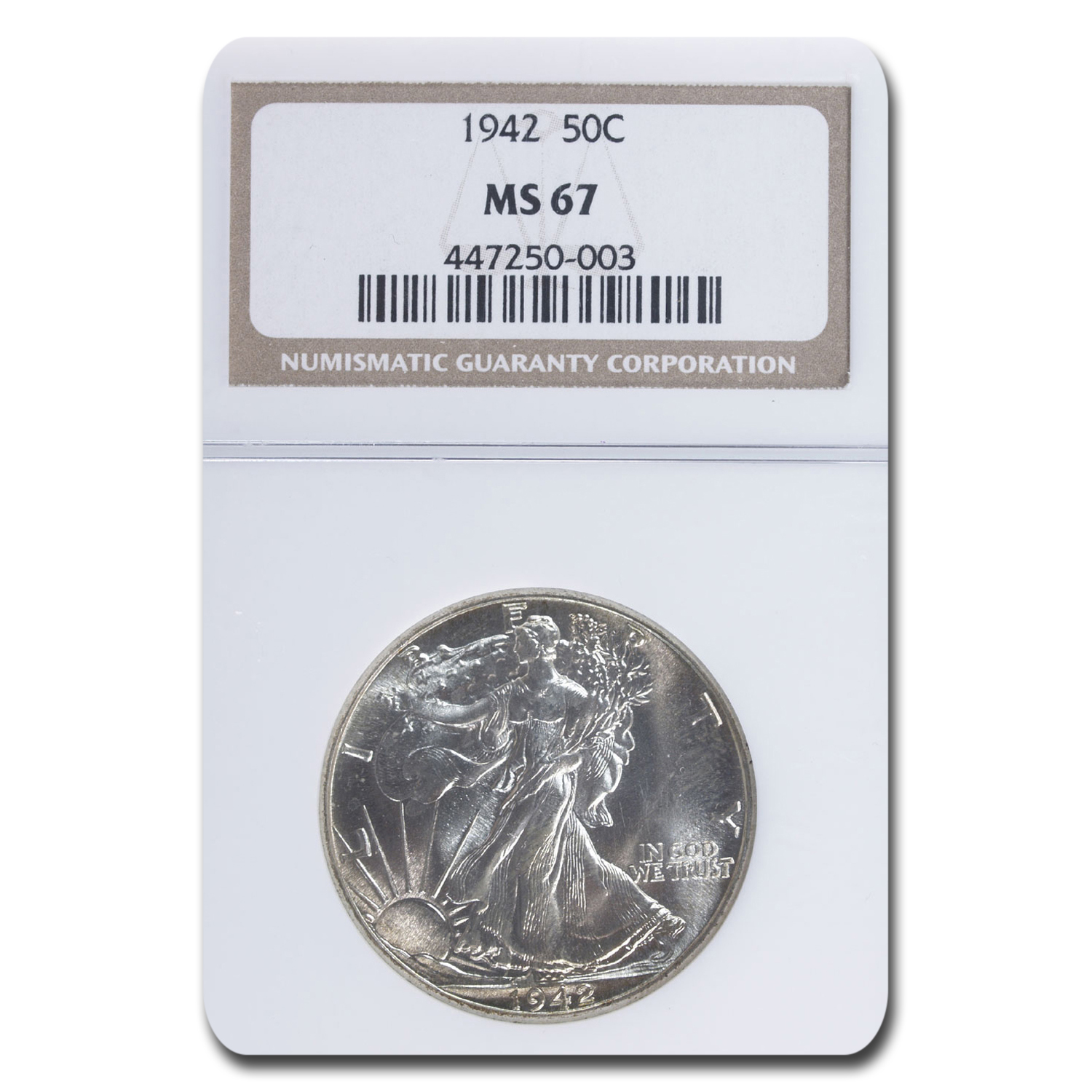 1942 Walking Liberty Half Dollar MS-67 NGC
