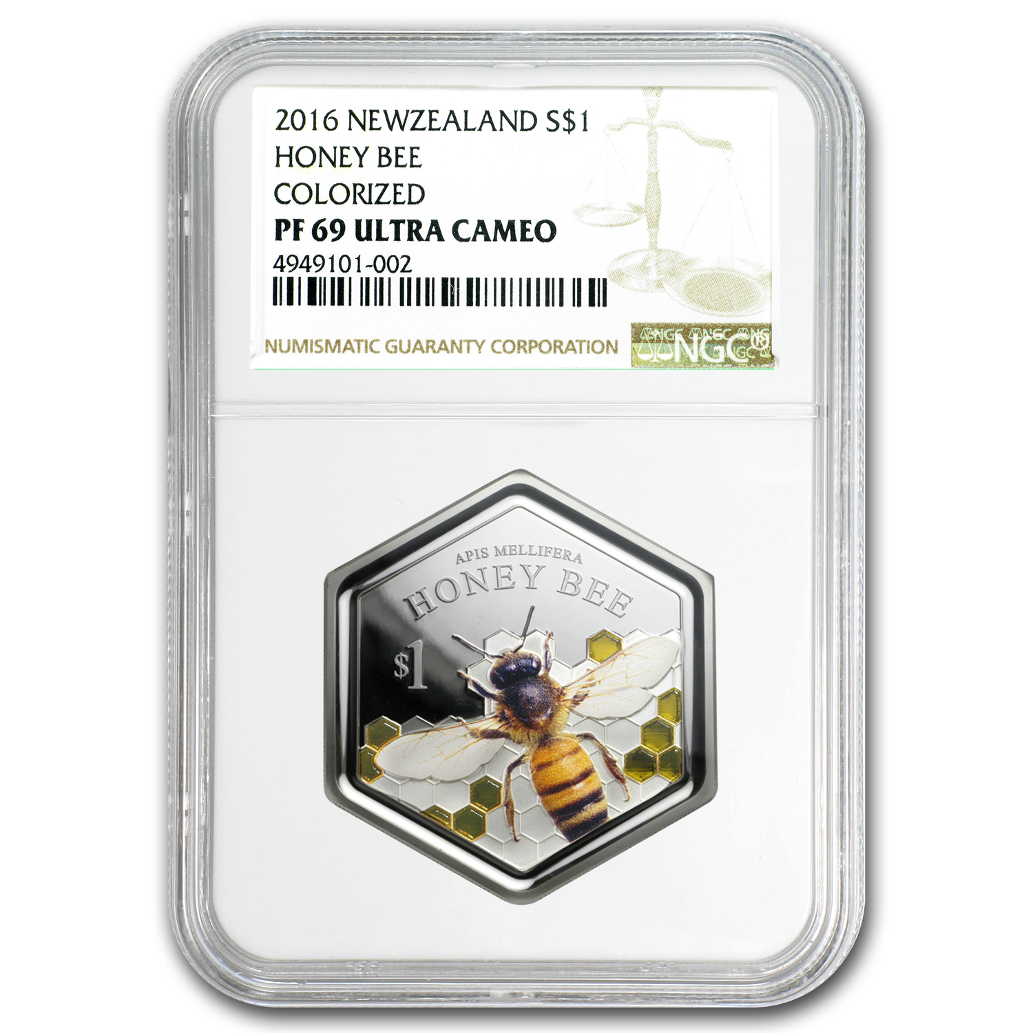 2016 New Zealand 1 oz Silver $1 Honey Bee Coin PF-69 NGC