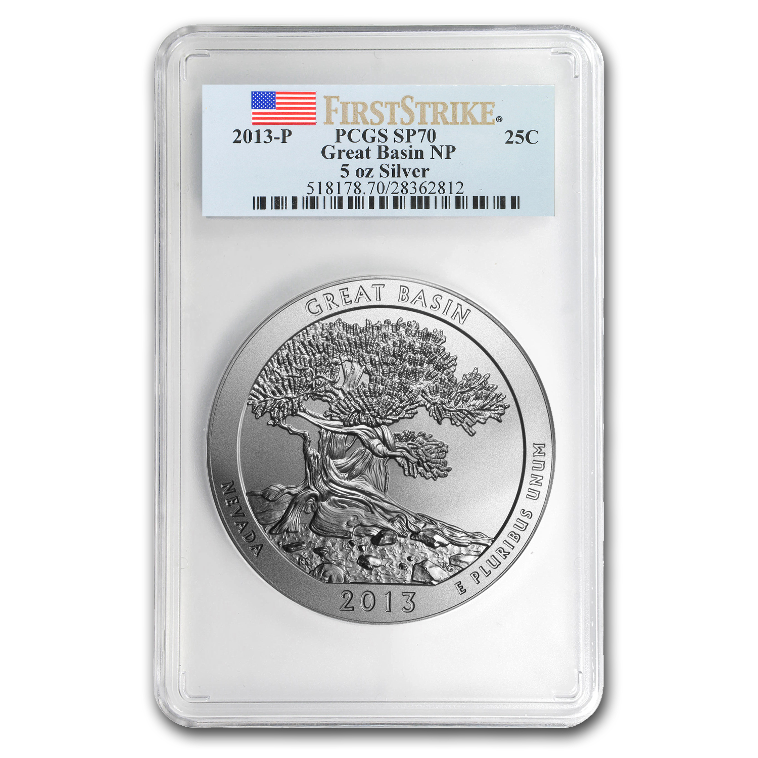 2013-P 5 oz Silver ATB Great Basin SP-70 PCGS (First Strike)