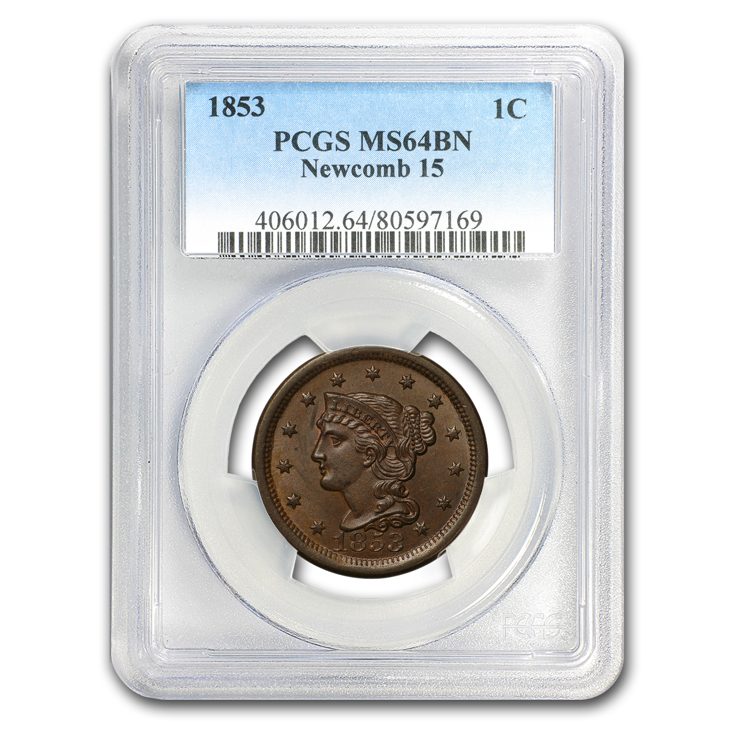 1853 Large Cent MS-64 PCGS (Brown)