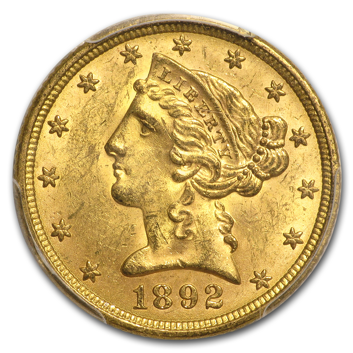 1892 $5 Liberty Gold Half Eagle MS-63 PCGS