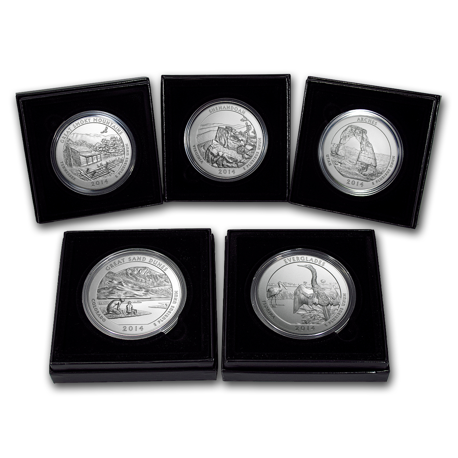 2014-P 5-Coin Burnished 5 oz Silver ATB Set (w/Boxes & COAs)