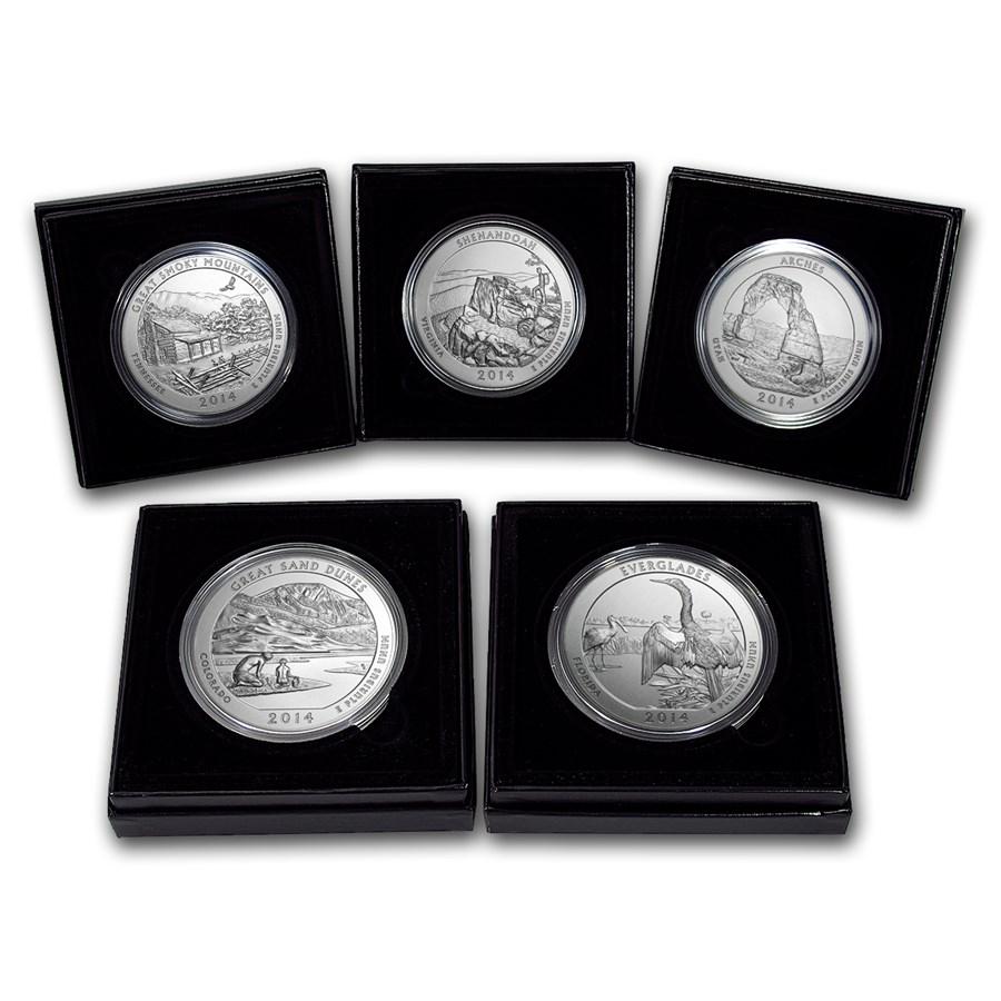 2014 p 5 coin burnished 5 oz silver atb set w boxes. Black Bedroom Furniture Sets. Home Design Ideas