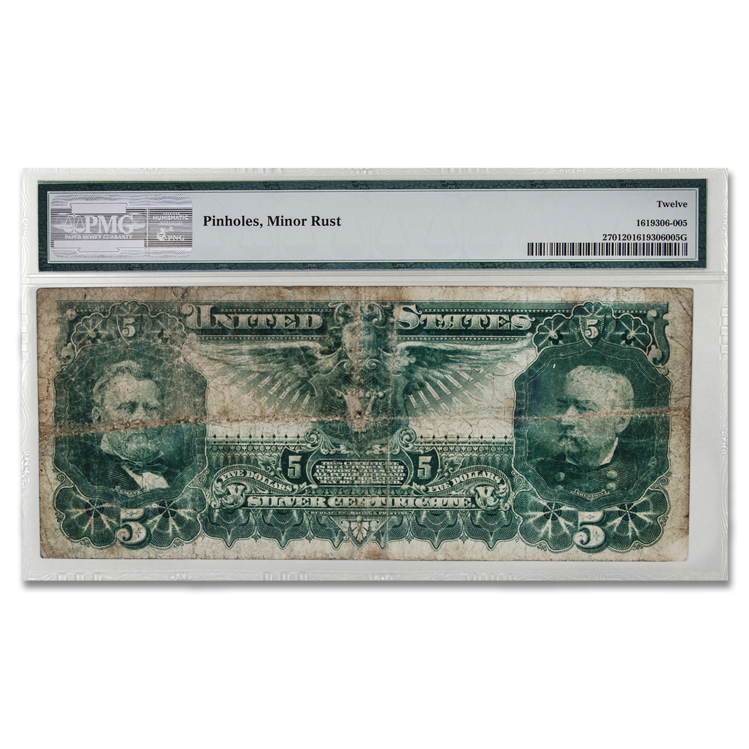 1896 $5.00 Silver Certificate Educational Note F-12 PMG