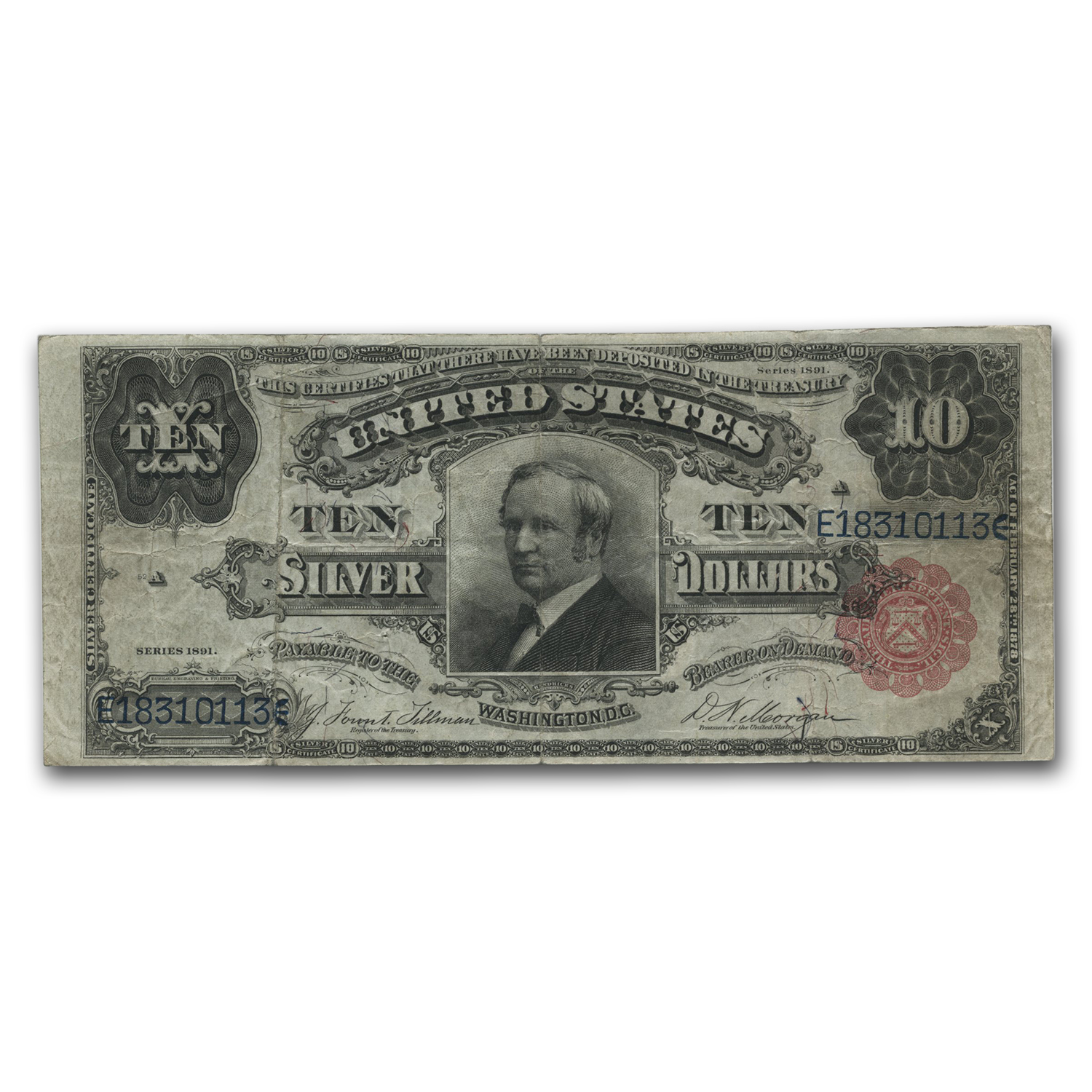 1891 $10 Silver Certificate Hendricks Tombstone VF