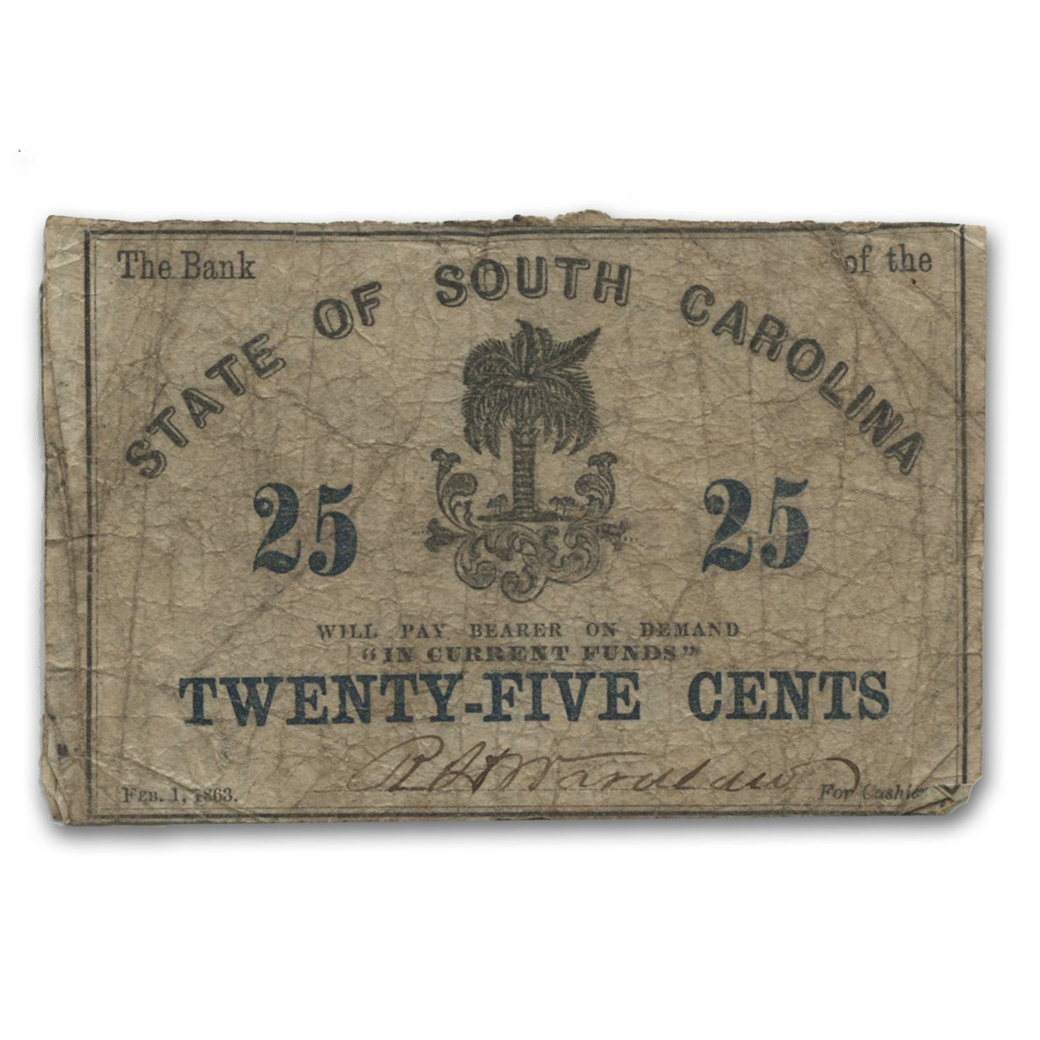 1863 Bank of the State of South Carolina 25 Cents SC-45 Fine