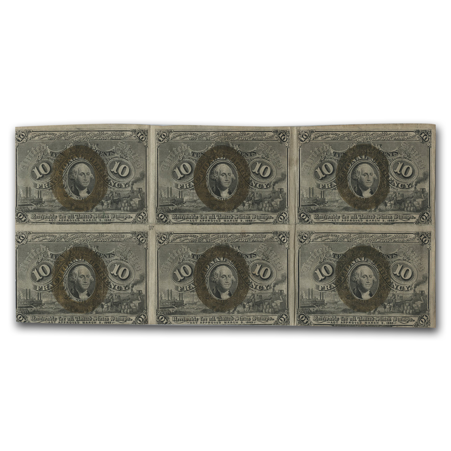2nd Issue Fractional Currency 10 Cents XF (Uncut Sheet of 6)