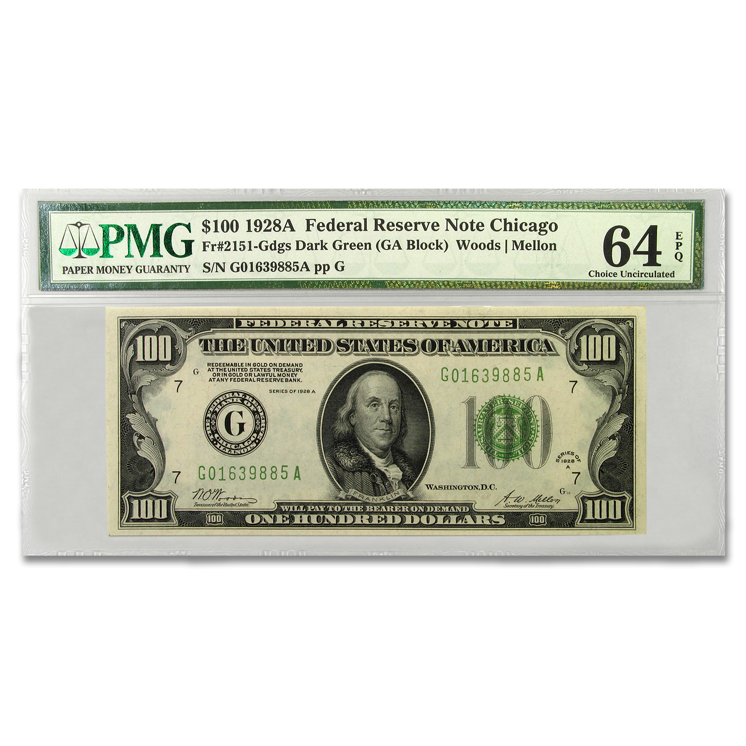 1928-A (G-Chicago) $100 FRN CU-64 EPQ PMG (Dark Green)