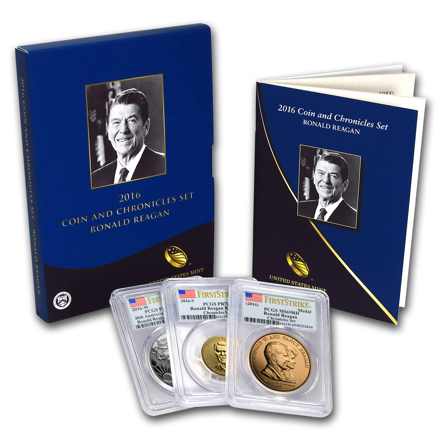 2016 Ronald Reagan Coin & Chronicles Set PR-70, PR-70, PR-69 PCGS