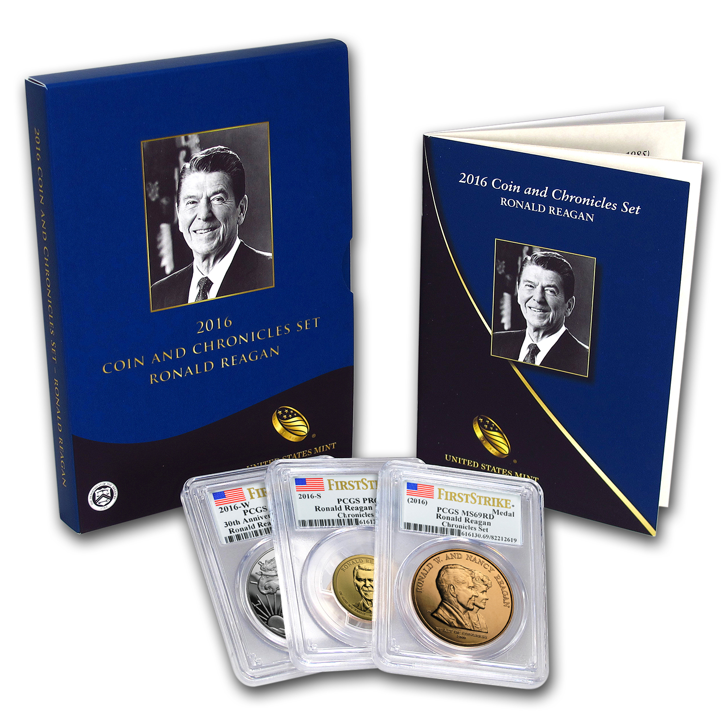 2016 Ronald Reagan Coin/Chronicles Set PR-70, PR-69, PR-69 PCGS