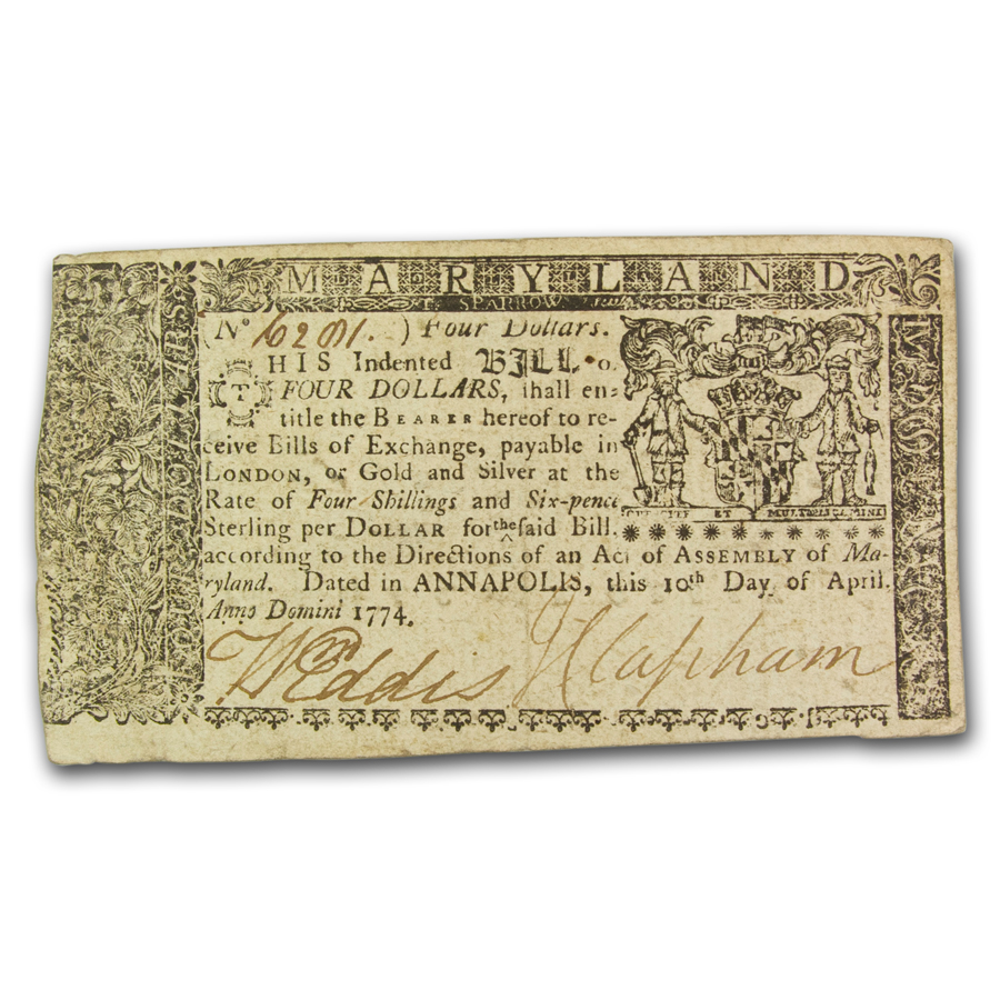 1774 $4 Maryland Currency 4/10/1774 XF+