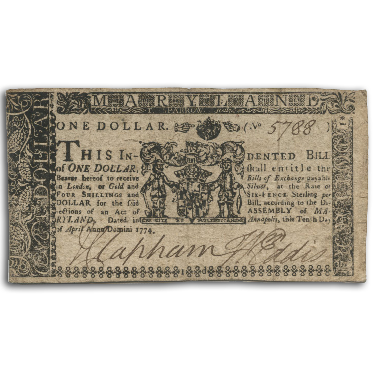 1774 $1 Maryland Currency 4/10/1774 XF