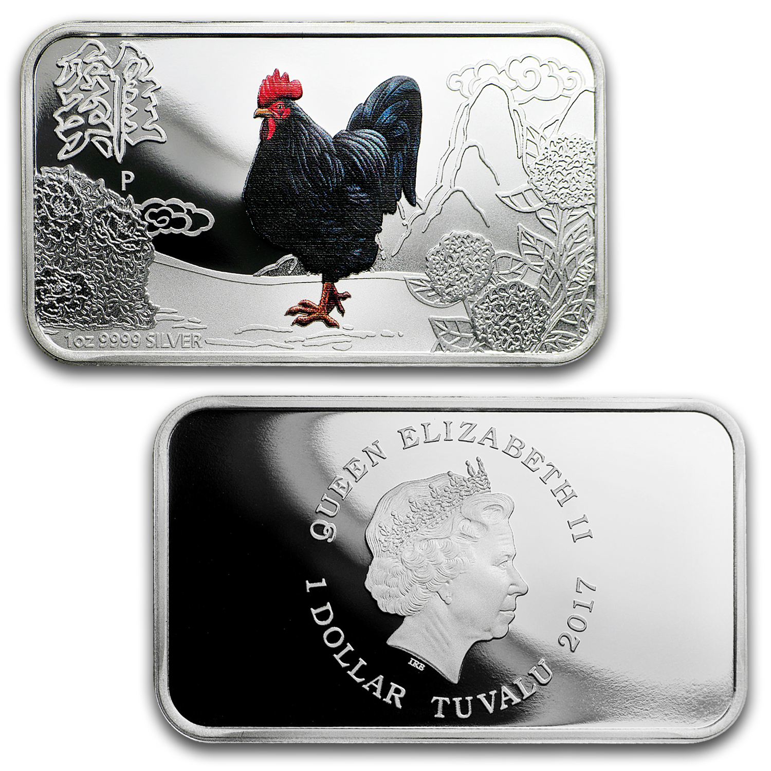 2017 Australia 4-Coin 1 oz Silver Proof Lunar Rooster Set (Rect)
