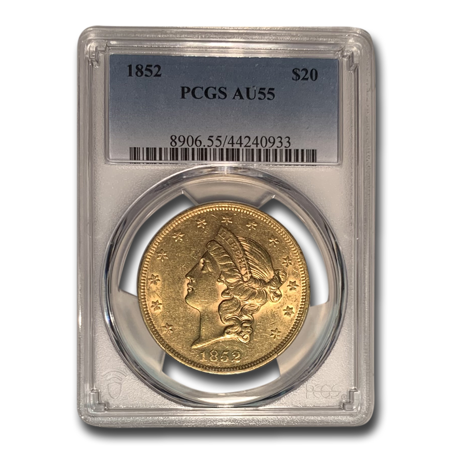 1852 $20 Liberty Gold Double Eagle AU-55 PCGS