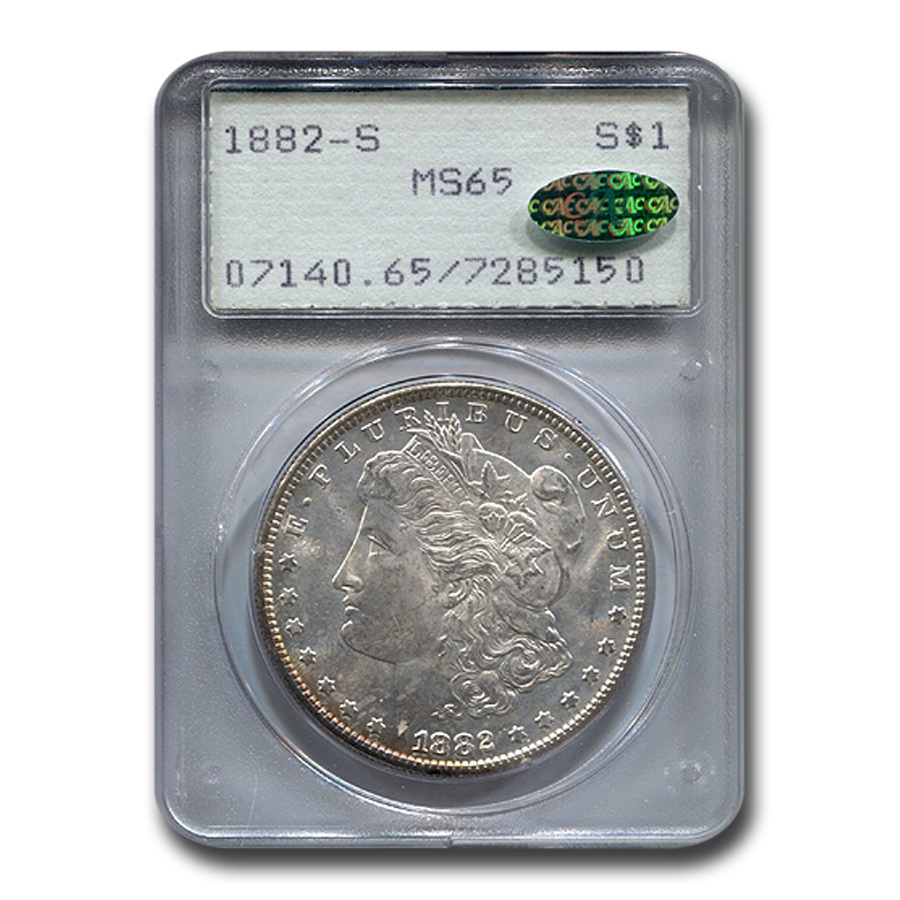 1882-S Morgan Dollar MS-65 PCGS (CAC, Rainbow Toned Obv)