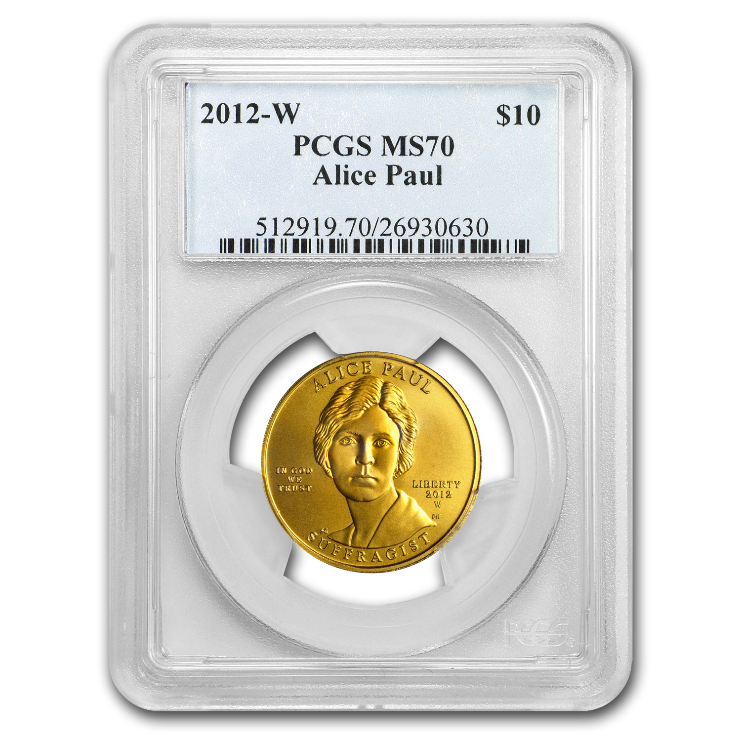 2012-W 1/2 oz Gold Alice Paul MS-70 PCGS