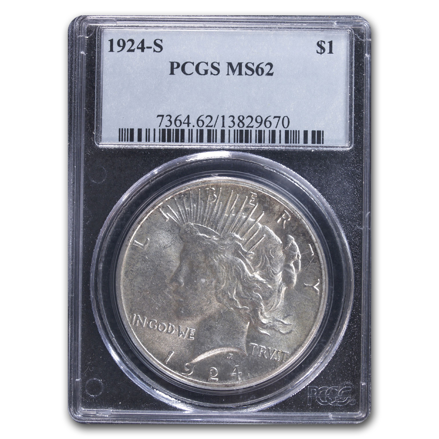 1924-S Peace Dollar MS-62 PCGS