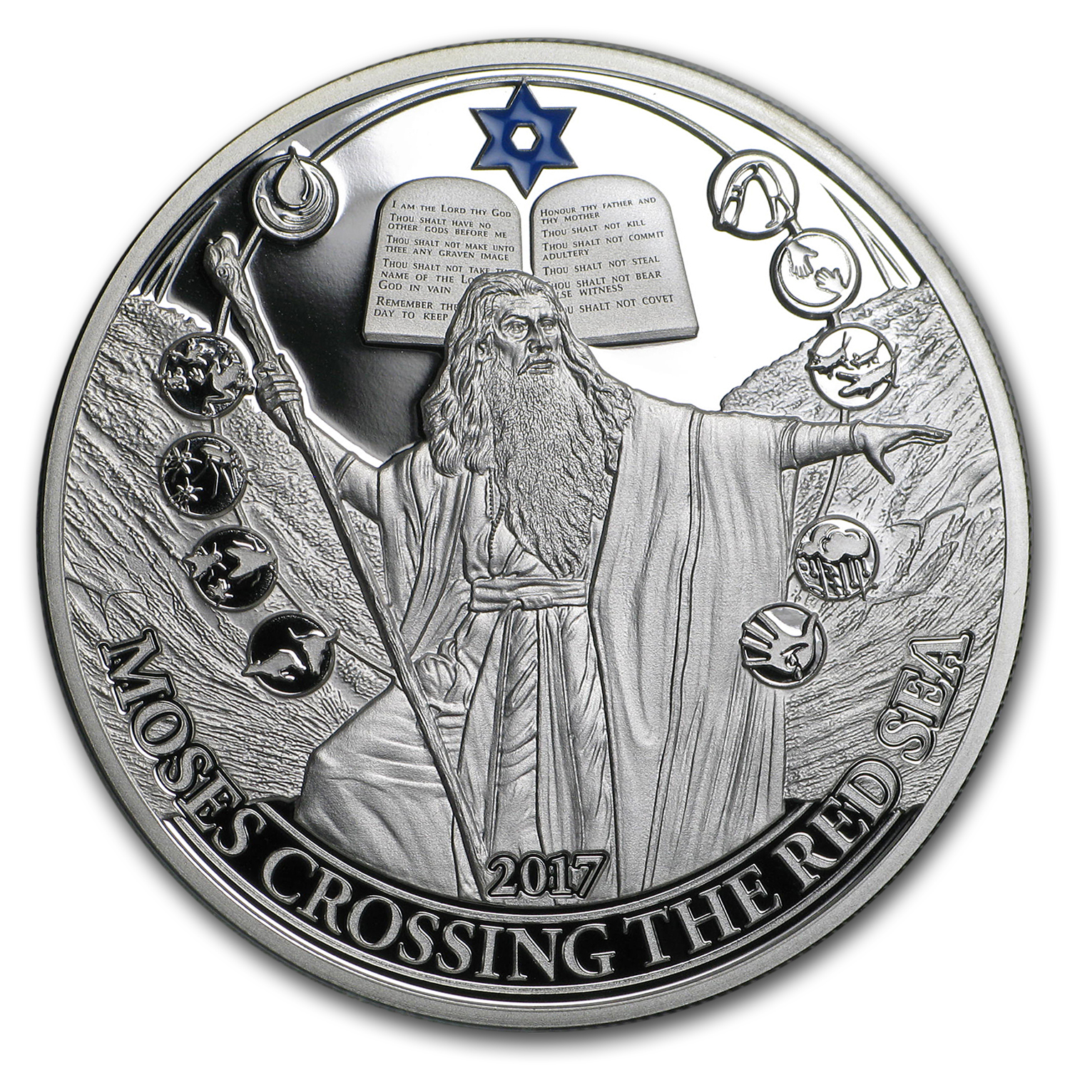 2017 Palau Silver Biblical Stories (Moses Crossing The Red Sea)