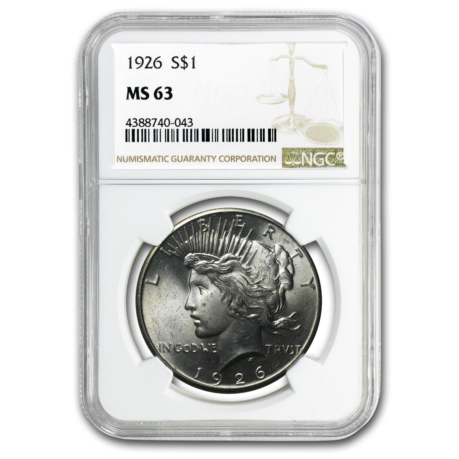 1926 Peace Dollar MS-63 NGC