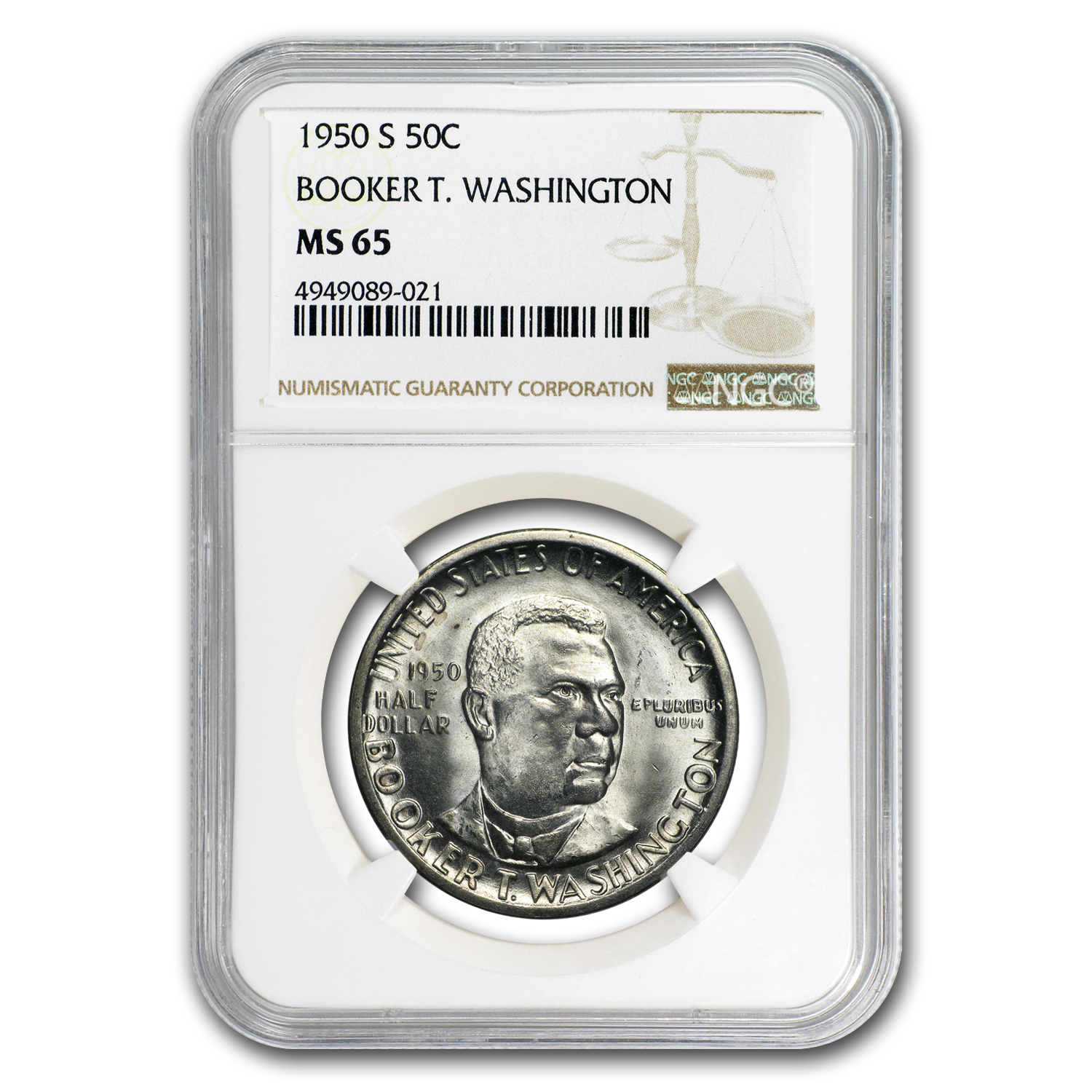 1950 3-pc Booker T. Washington P,D & S Half Set MS-65 NGC
