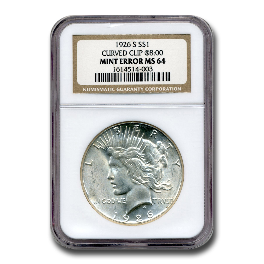 1922 Peace Dollar MS-64 NGC (Curved Clip Planchet Mint Error)
